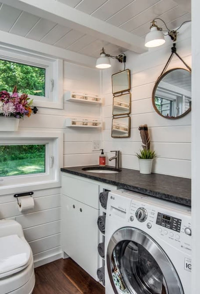 Alpha Tiny House bathroom washer and dryer
