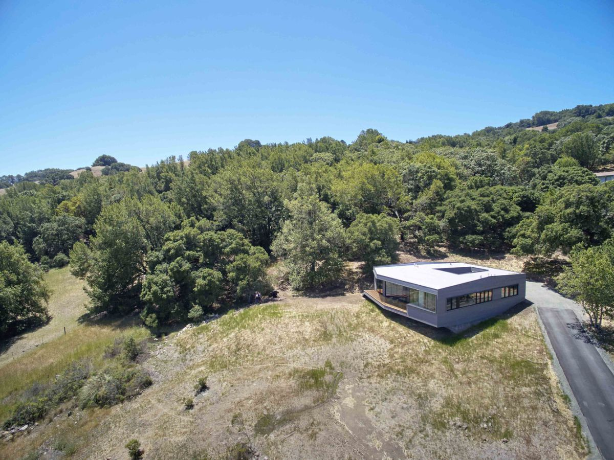 Box on the Rock in Sonoma Valley from above view