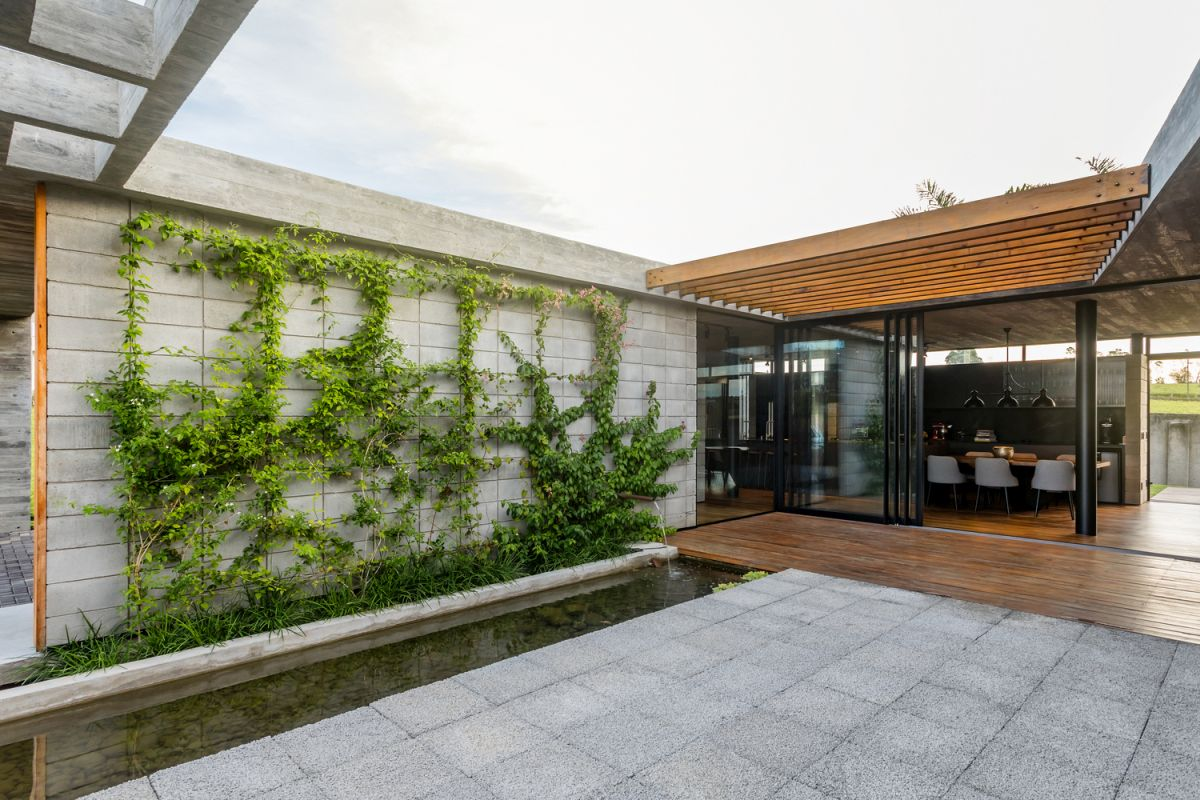 The green wall in the courtyard was created using thin steel cables arranged in a grid pattern