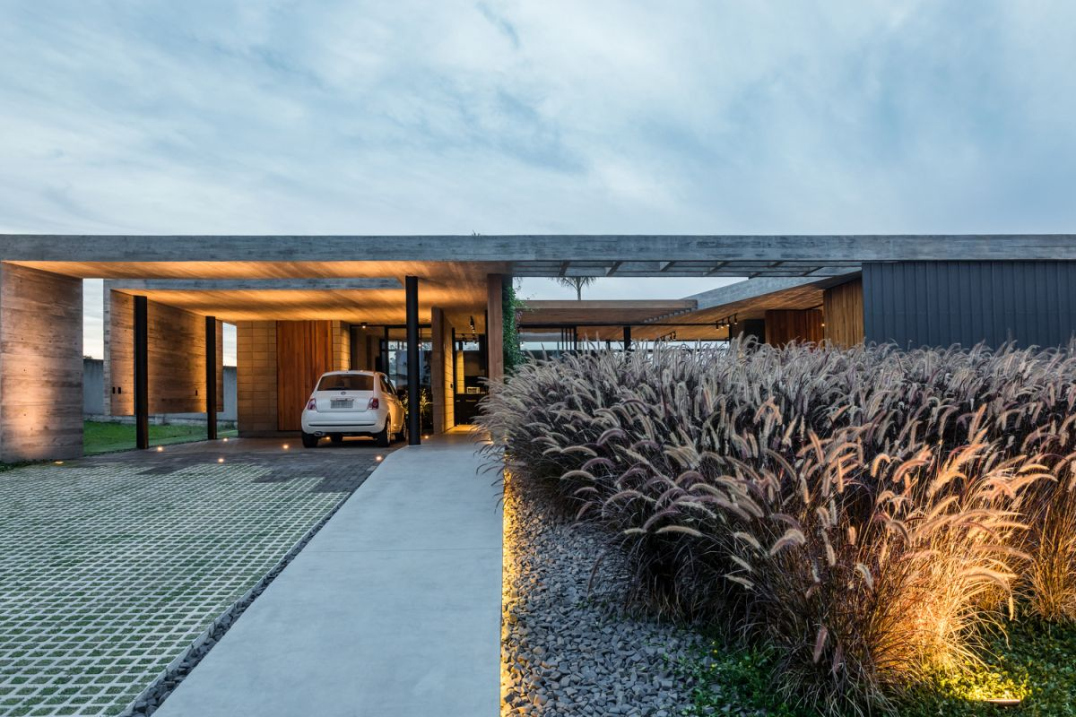 Concrete and wood are the two main materials featured throughout this entire house