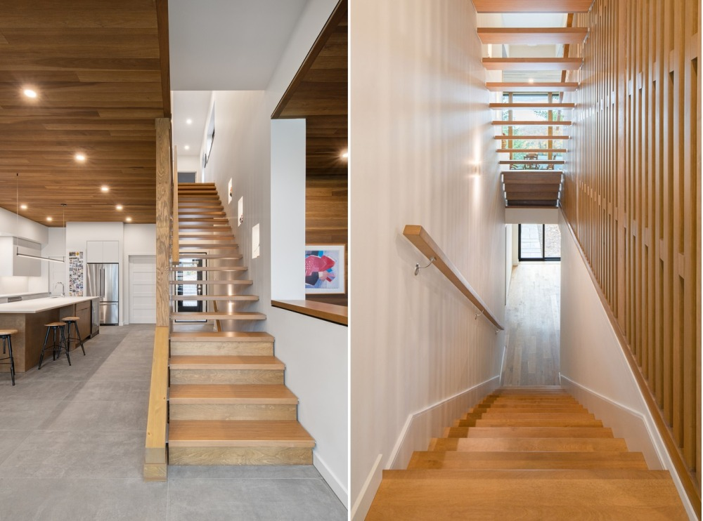 The interior is organized on two floors which are connected by this simple wooden staircase