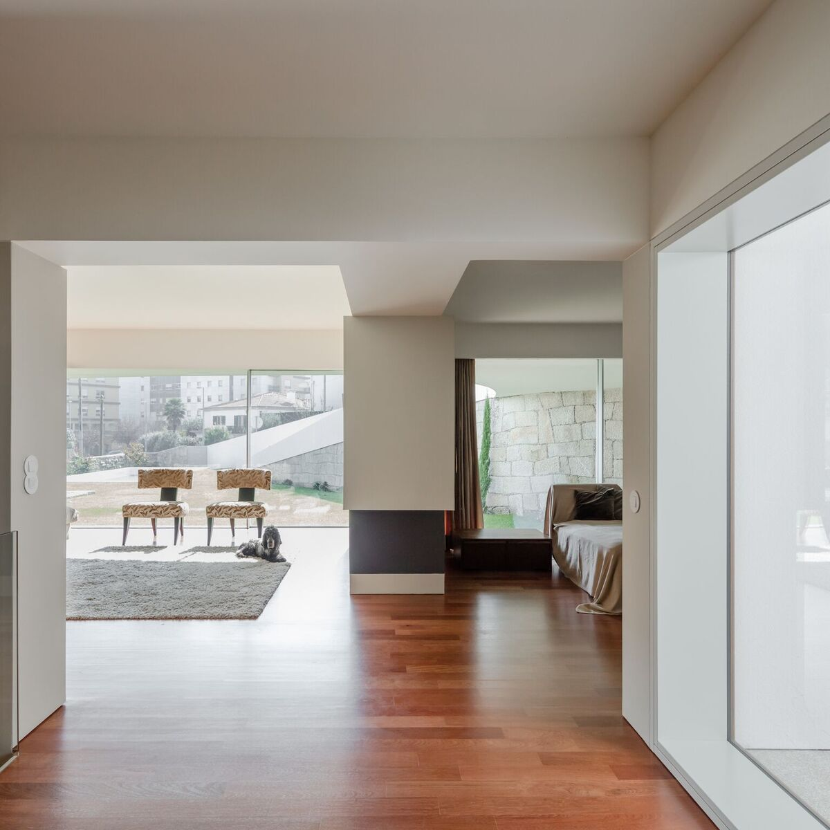 The interior is bright and open which is expected considering the exterior design of this modern home