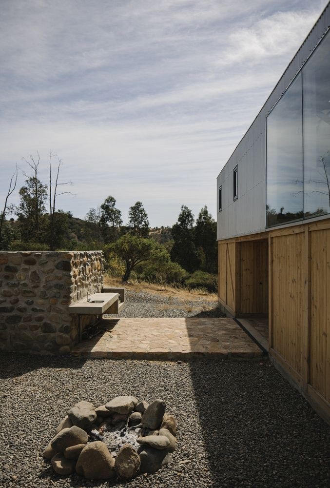 A selection of locally-sourced materials was used to create a sense of belonging and to help the shed blend in