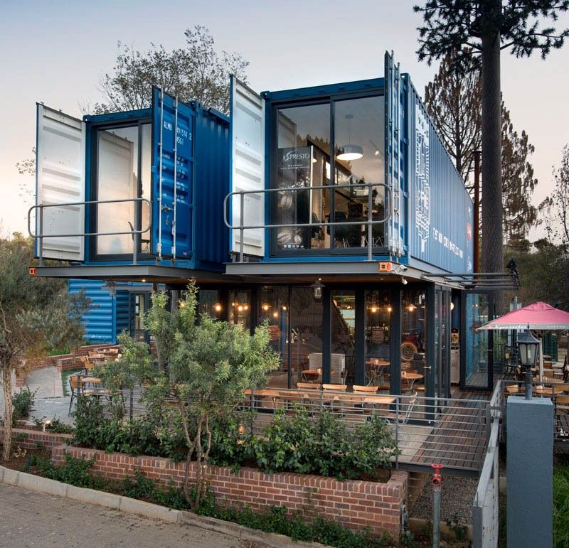 Coffee shop and showroom built with shipping containers Level
