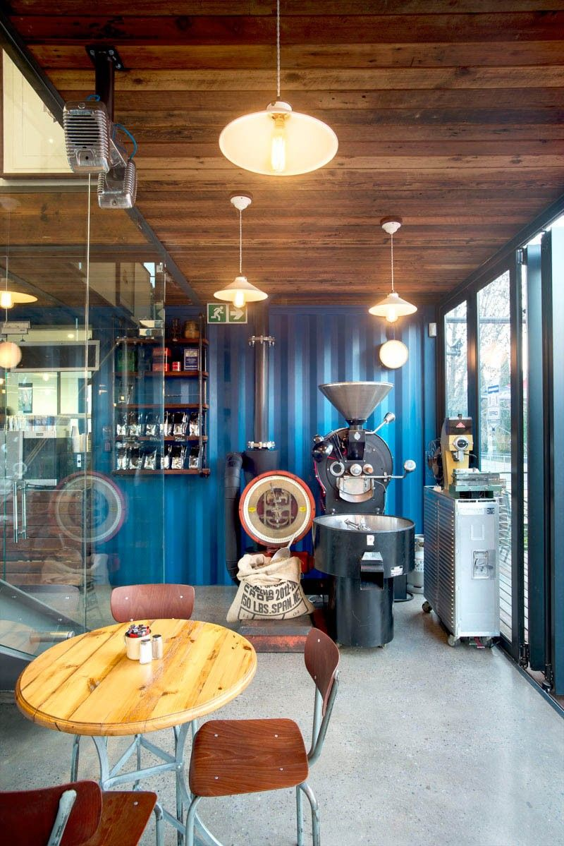 Coffee shop and showroom built with shipping containers - coffee roaster