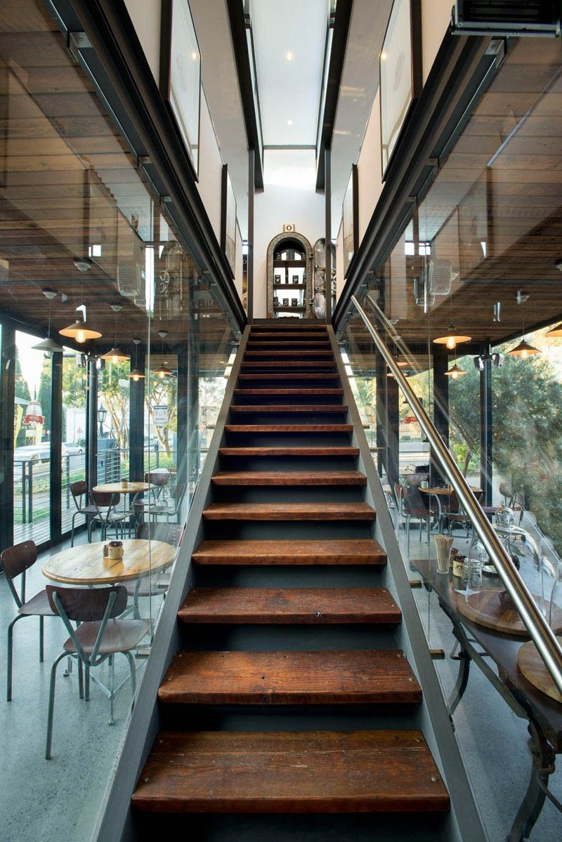 Coffee shop and showroom built with shipping containers - stairs