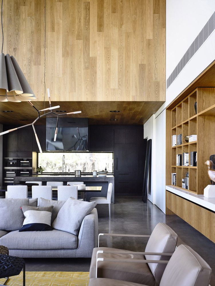 The kitchen, dining room and living area are combined into a single large space on the ground floor