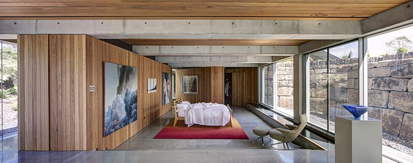 There's a very nice balance of cool and warm materials which are mainly concrete and wood