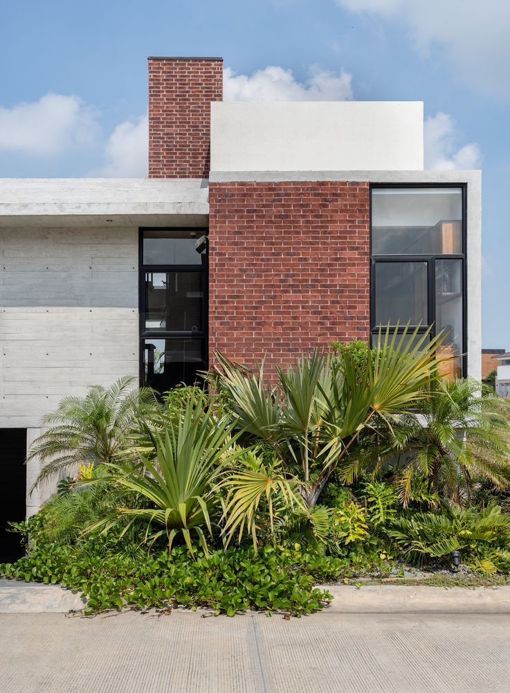There's lush tropical vegetation all around the house which complements its simple geometry