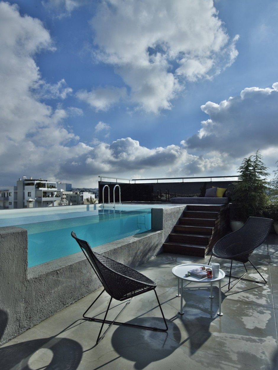 Duplex apartment in Athens, Greece - See Through pool