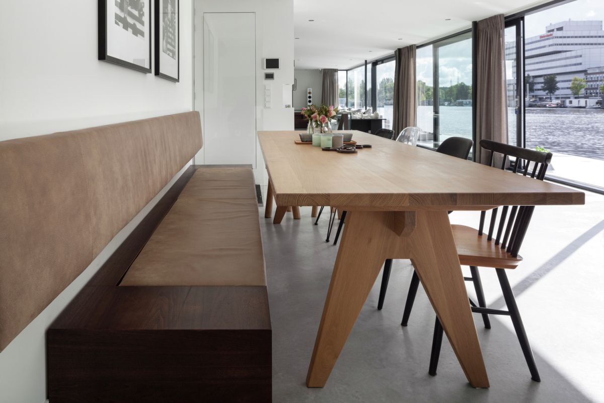 Floating Amsterdam home dining area view