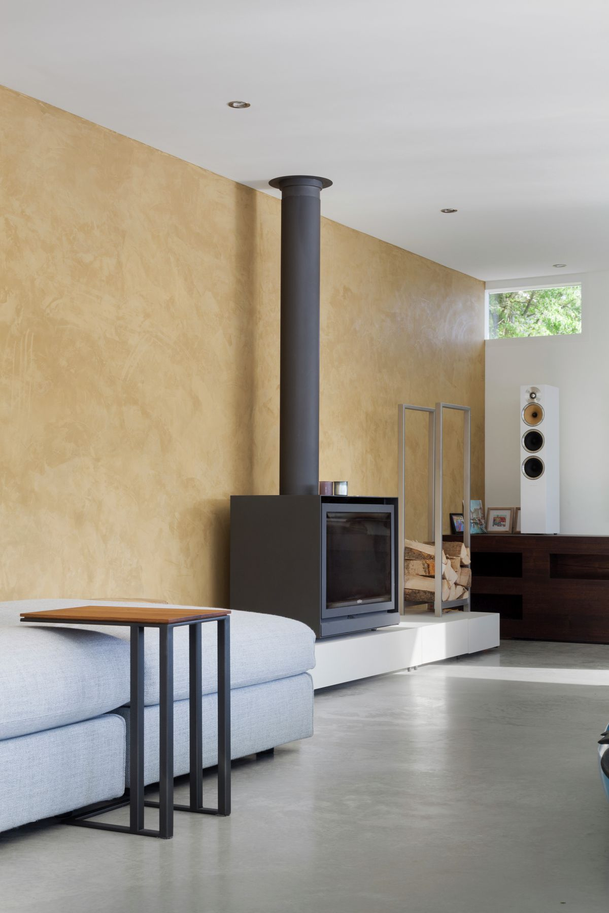 Floating Amsterdam home fireplace in living area