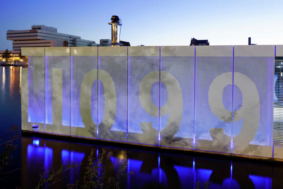 Floating Amsterdam home house number lit by LEDs