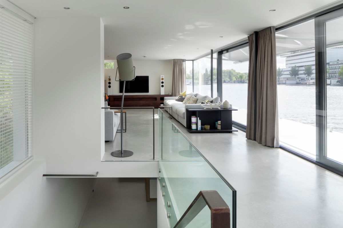 Floating Amsterdam home staircase from above