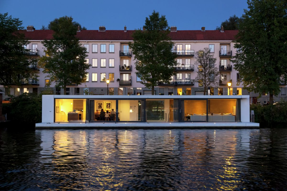 Floating Amsterdam home water side view