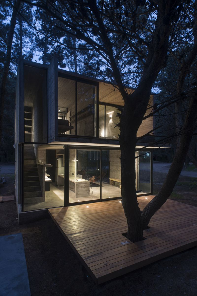 H3 House deck and house at night