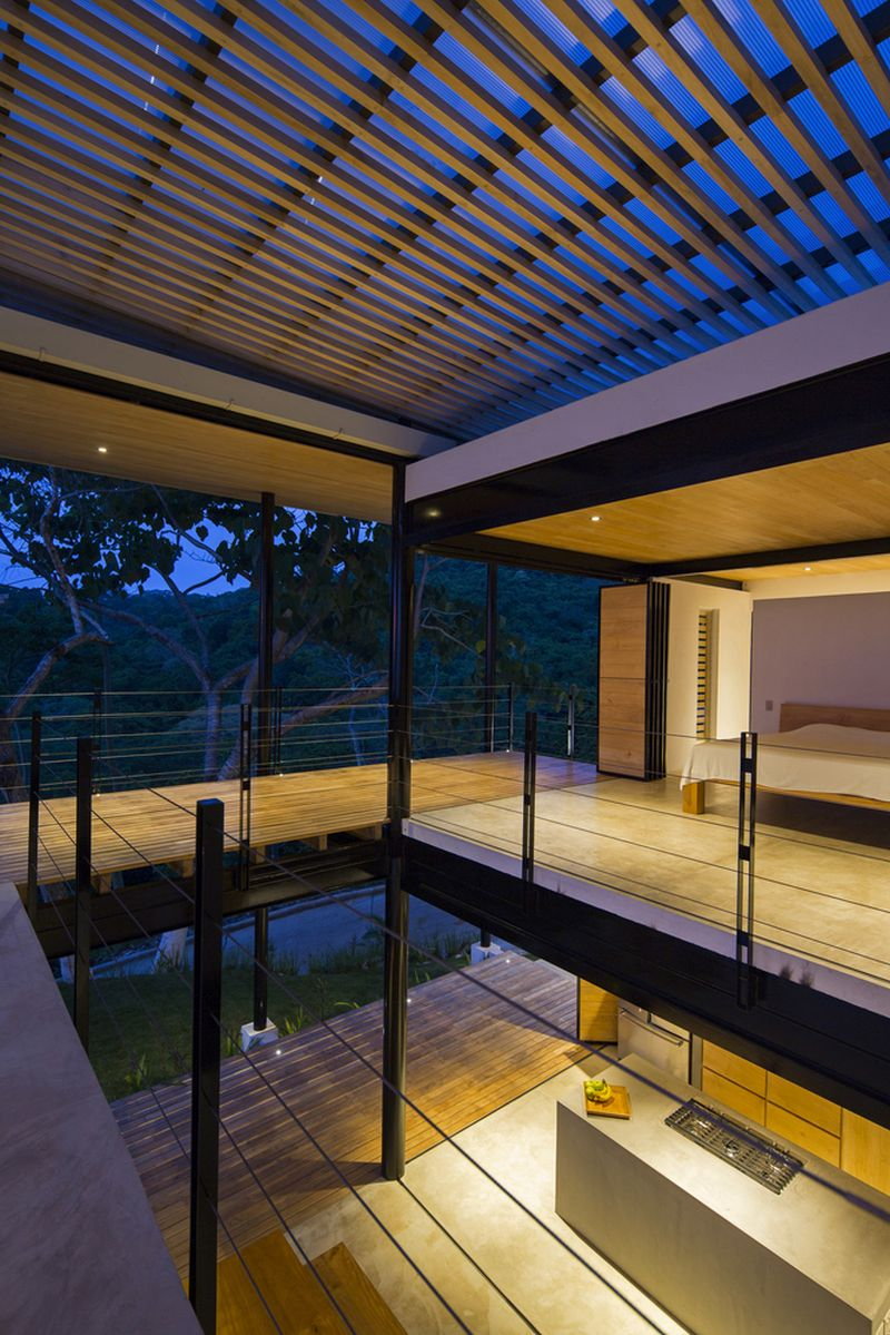House between the ocean and the jungle terraces on two levels