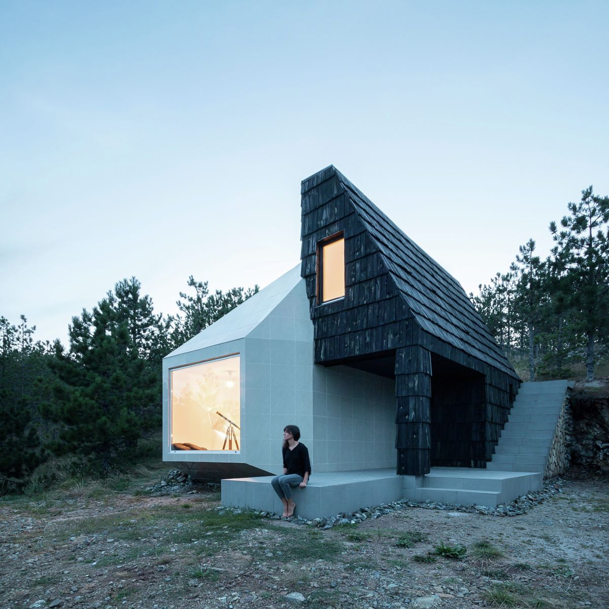 House in Divcibare by EXE studio by Night