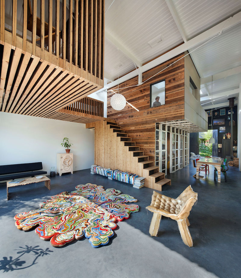 House of Rolf wooden wall and stairs
