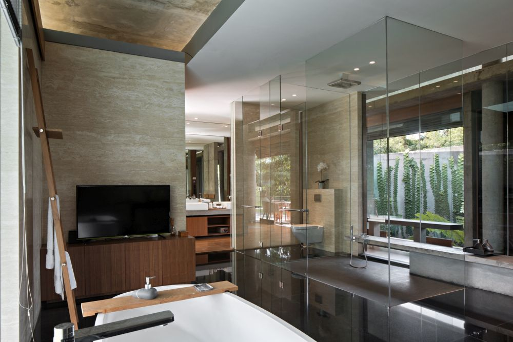 The master suite has a very fluid design which gives it an airy and welcoming feel