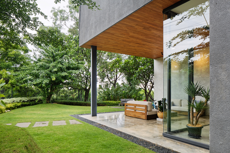 There's a very interesting relationship between the indoor and outdoor spaces. These sometimes overlap