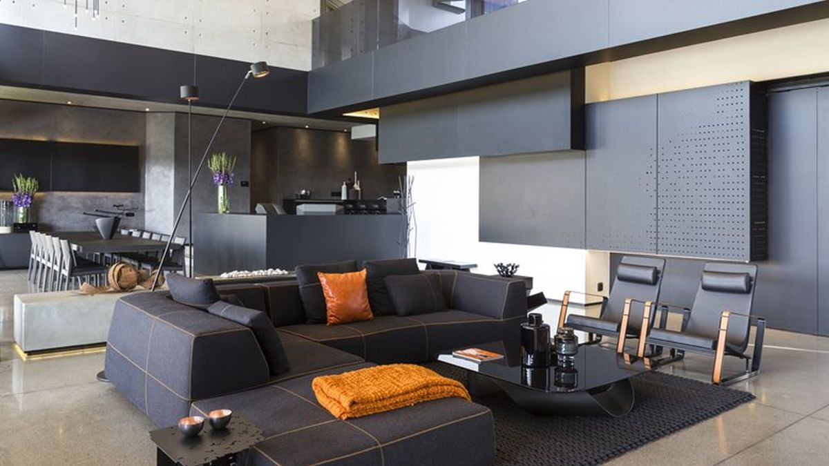 Kloof Road House project indoor living orange accents