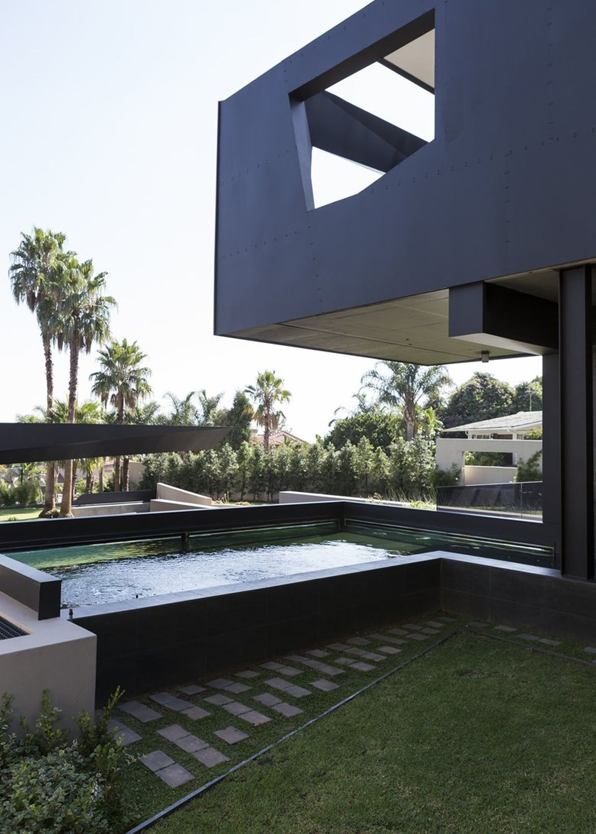 Kloof Road House project outdoor pond and pavilion