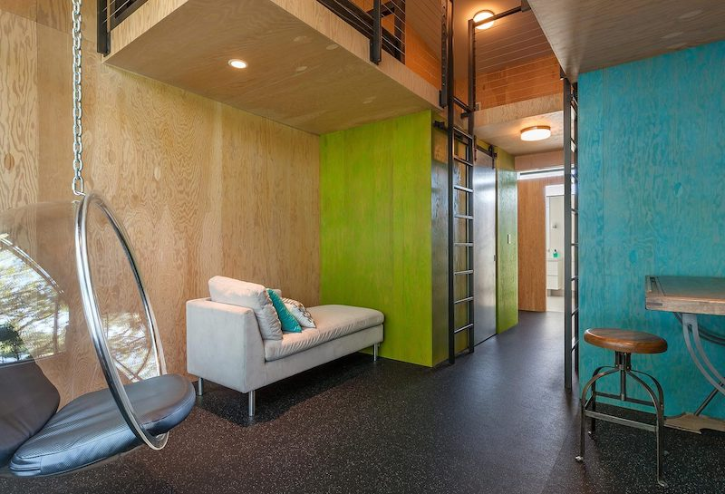 The children have their own wing decorated with brightly-colored plywood surfaces and fun features