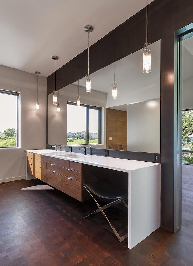 The master bathroom is large as well as has its own source of natural light and view