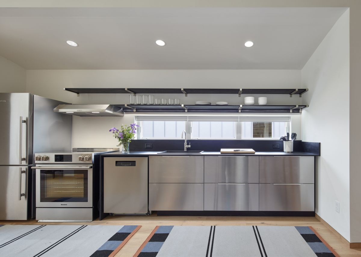 The kitchen is all stainless steel which looks really sleek and professional