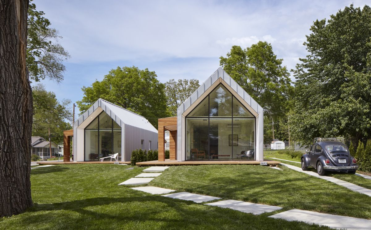 The houses are positioned side by side with slightly different orientations