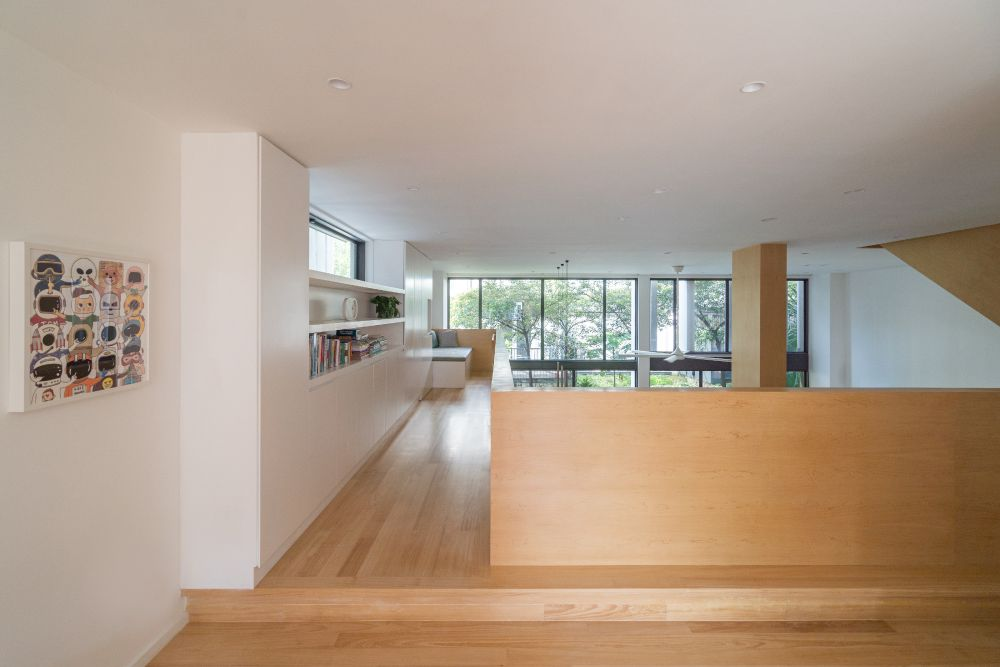 The upstairs area includes this beautiful walkway which overlooks the ground floor
