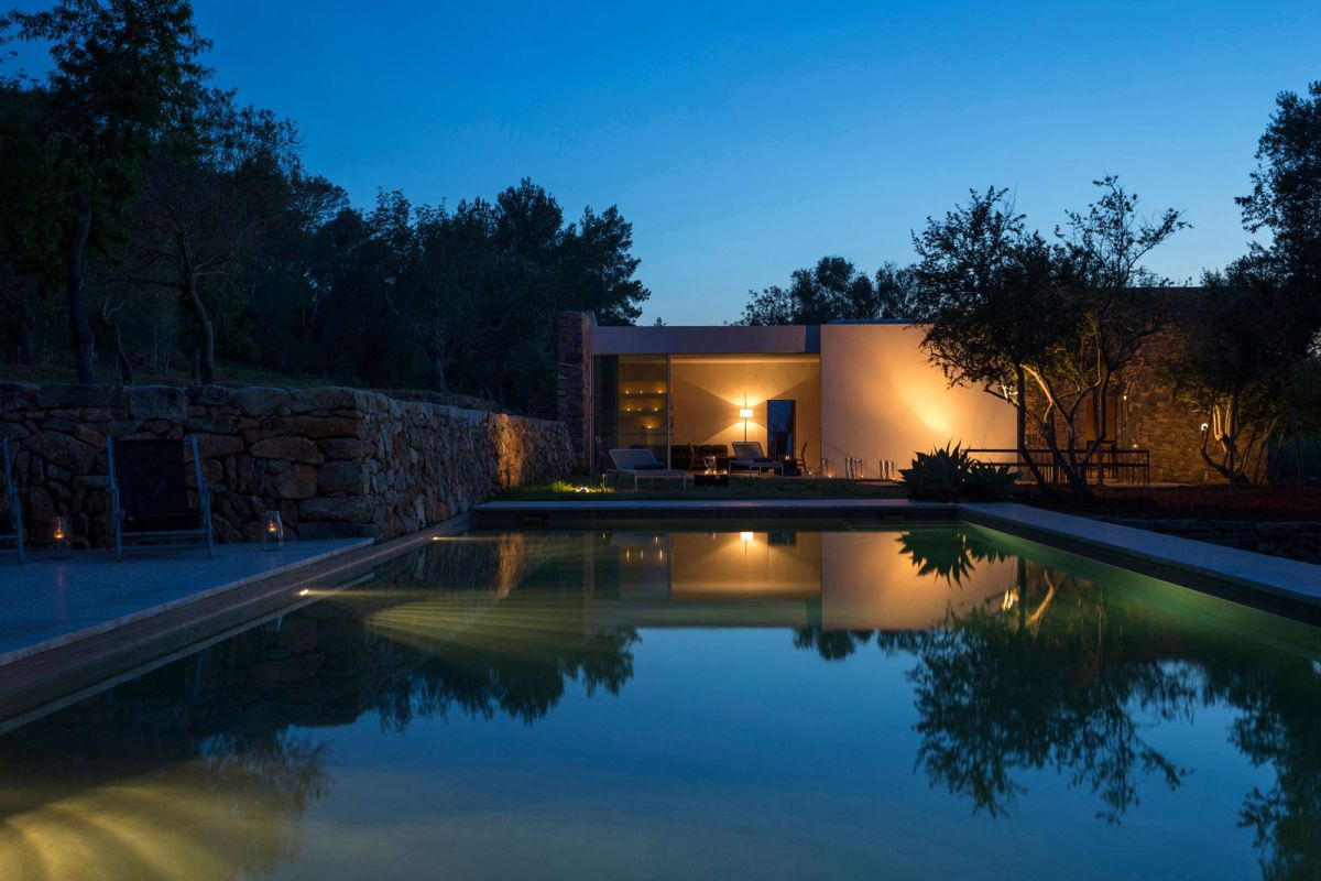 Modern Finca Can Basso transformation overall view at sunset