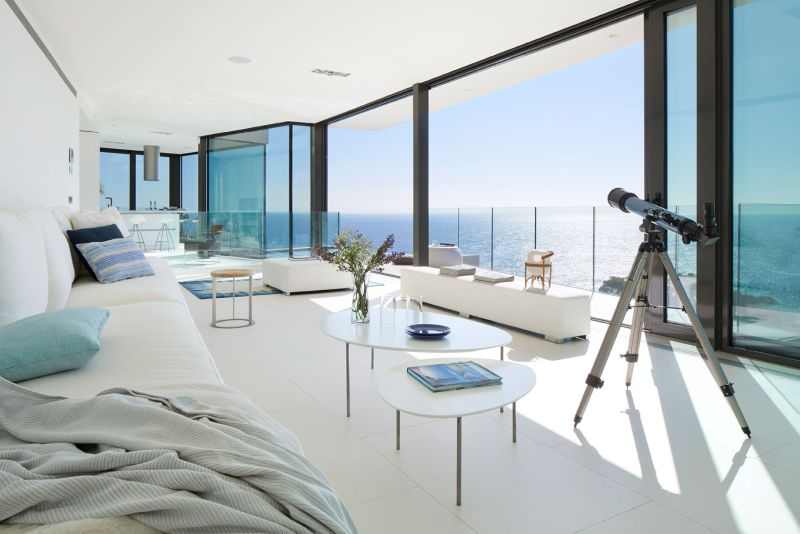Modern residence in Catalunya living room view of the sea