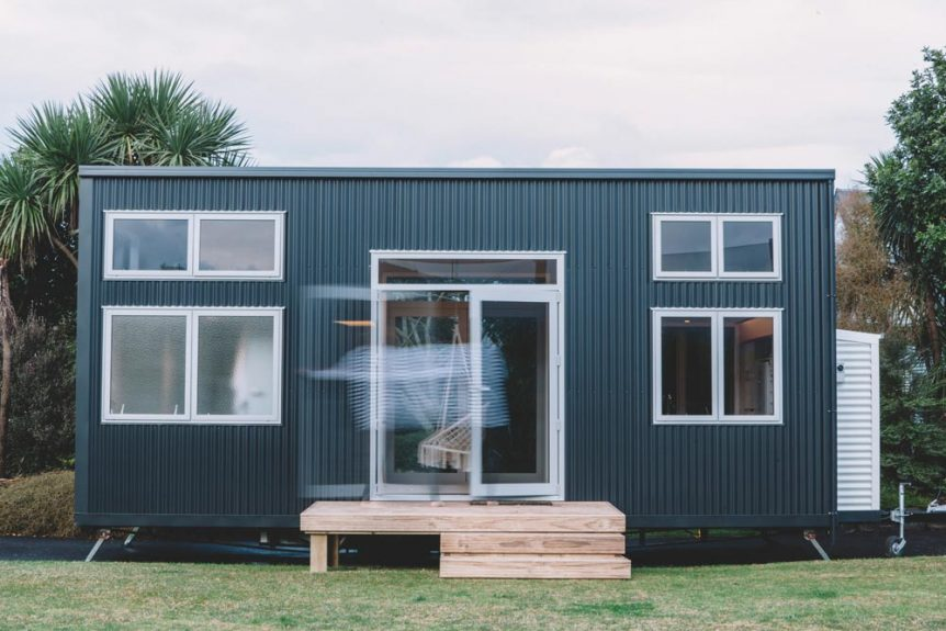The Millennial Tiny House has a simple and modern exterior appearance with a clean and rectangular shape