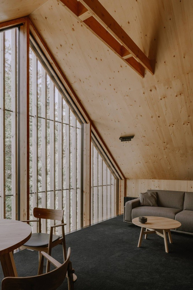 These vertical wooden fins create a sort of privacy screen but still allow nice views from the inside