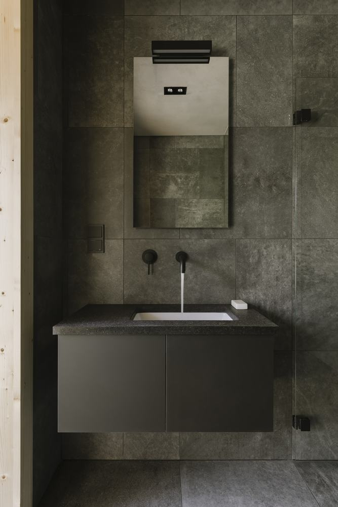 Wood is the primary materials used for the interior in combination with granite and concrete