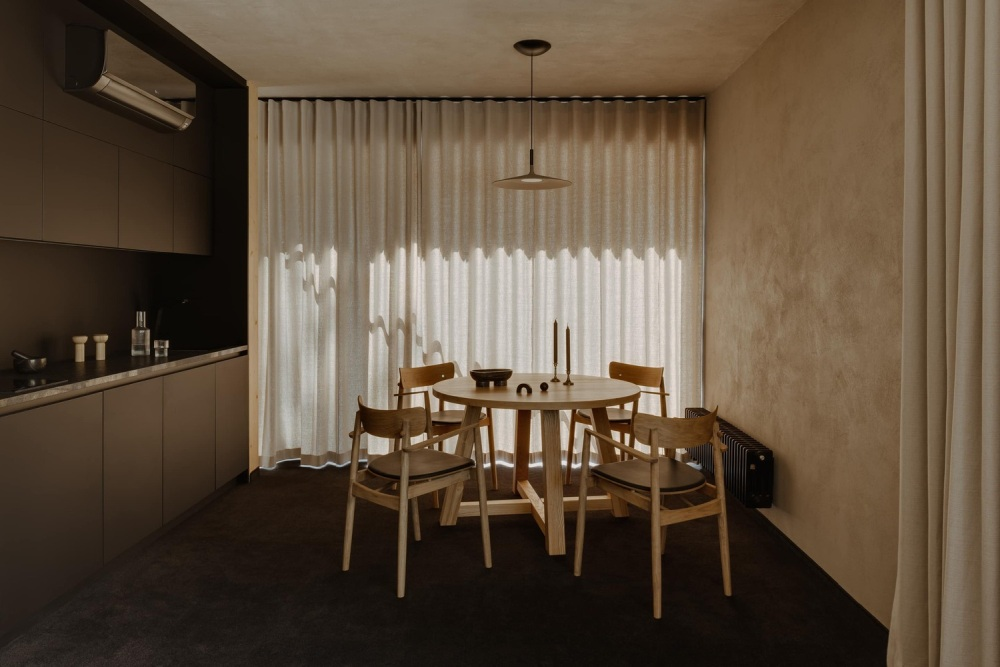 The apartments are simple and stylish, consisting of a living room, kitchen, dining area and a bedroom each