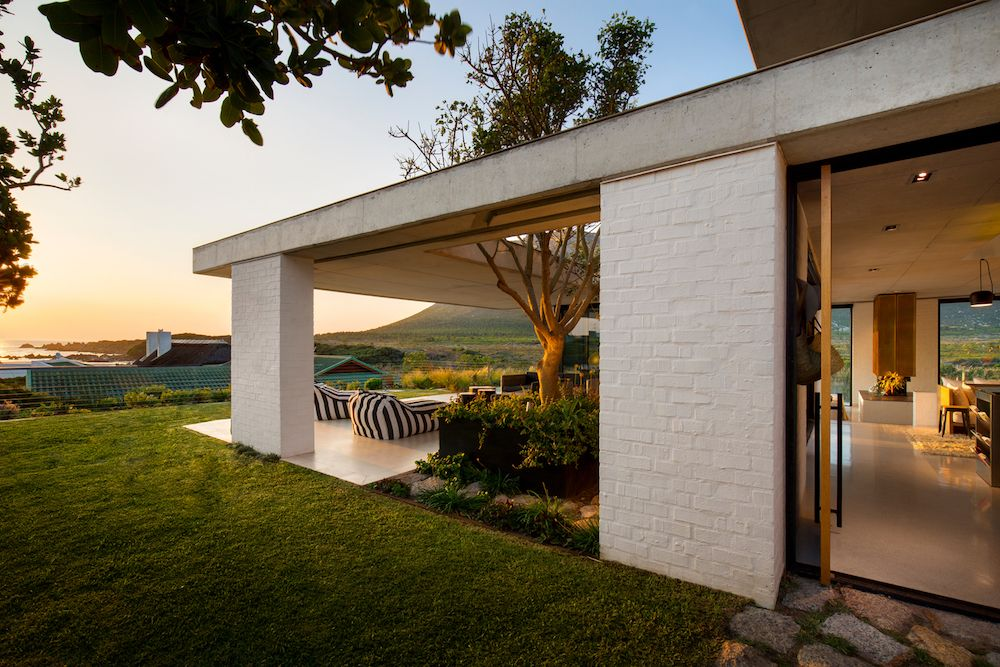 The architecture and the design of the house were partially influenced by the tough coastal climate