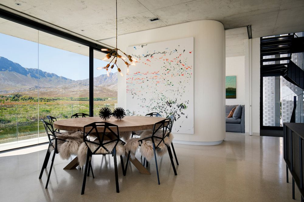 The artwork which adorns the walls is abstract in most cases and serves to balance out the neutral colors and to add playfulness to the decor