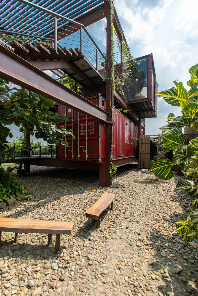 In total, four shipping containers have been repurposed and transformed into cozy spaces