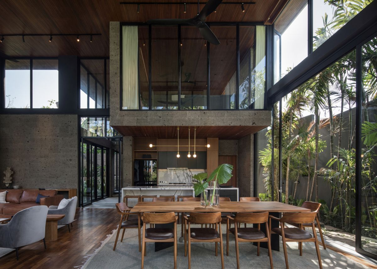The ground floor is a large and open space which houses the social functions of the residence