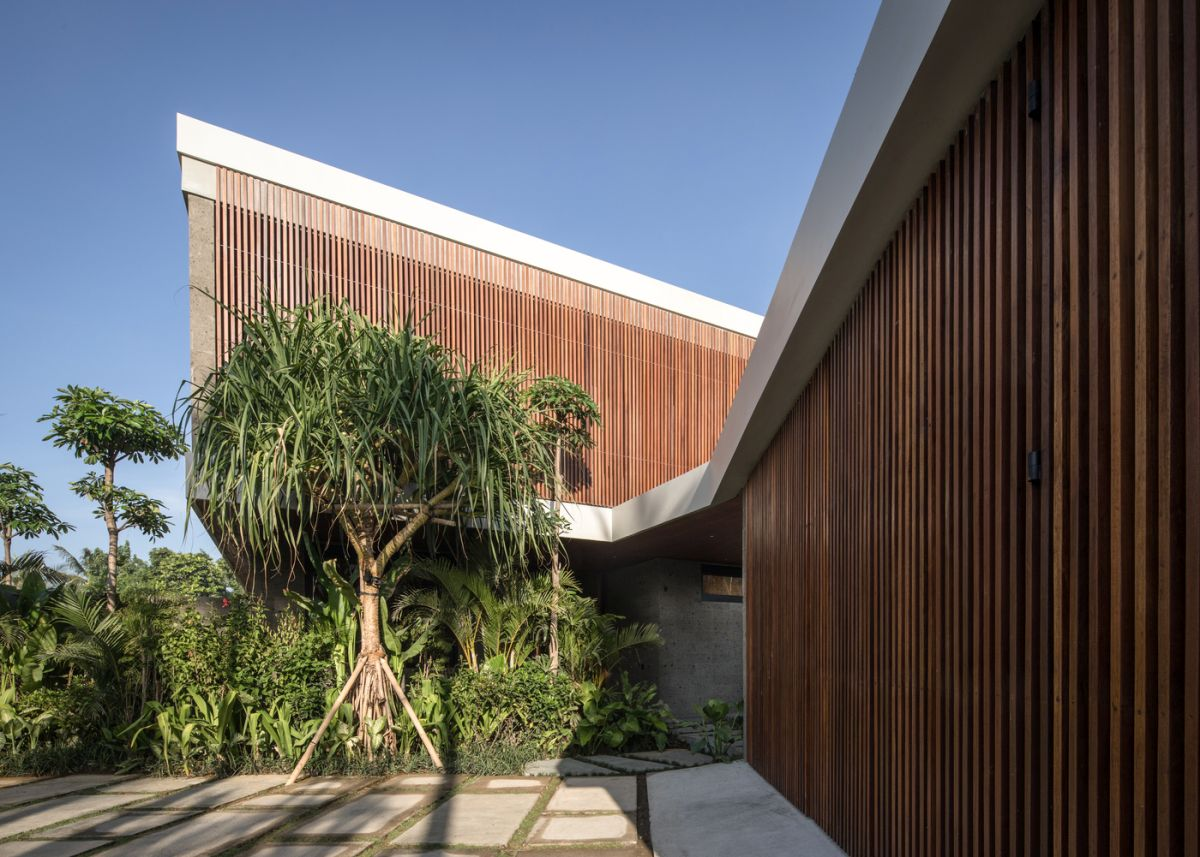 The house is surrounded by a forest of palm trees, coconut and banana trees