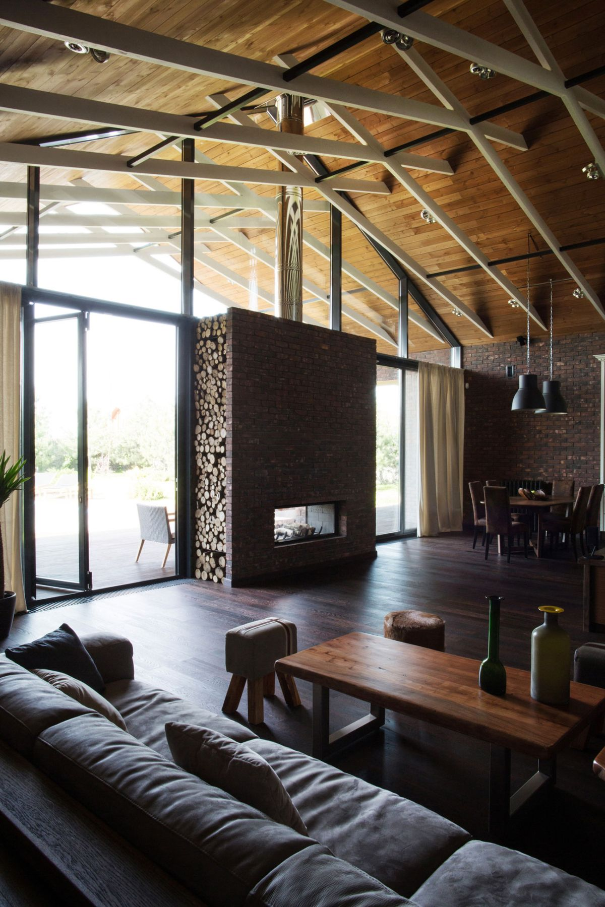 Rostov house by Chado living room fireplace