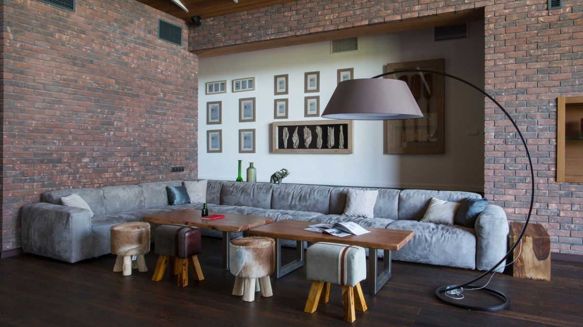 Rostov house by Chado seating area brick walls