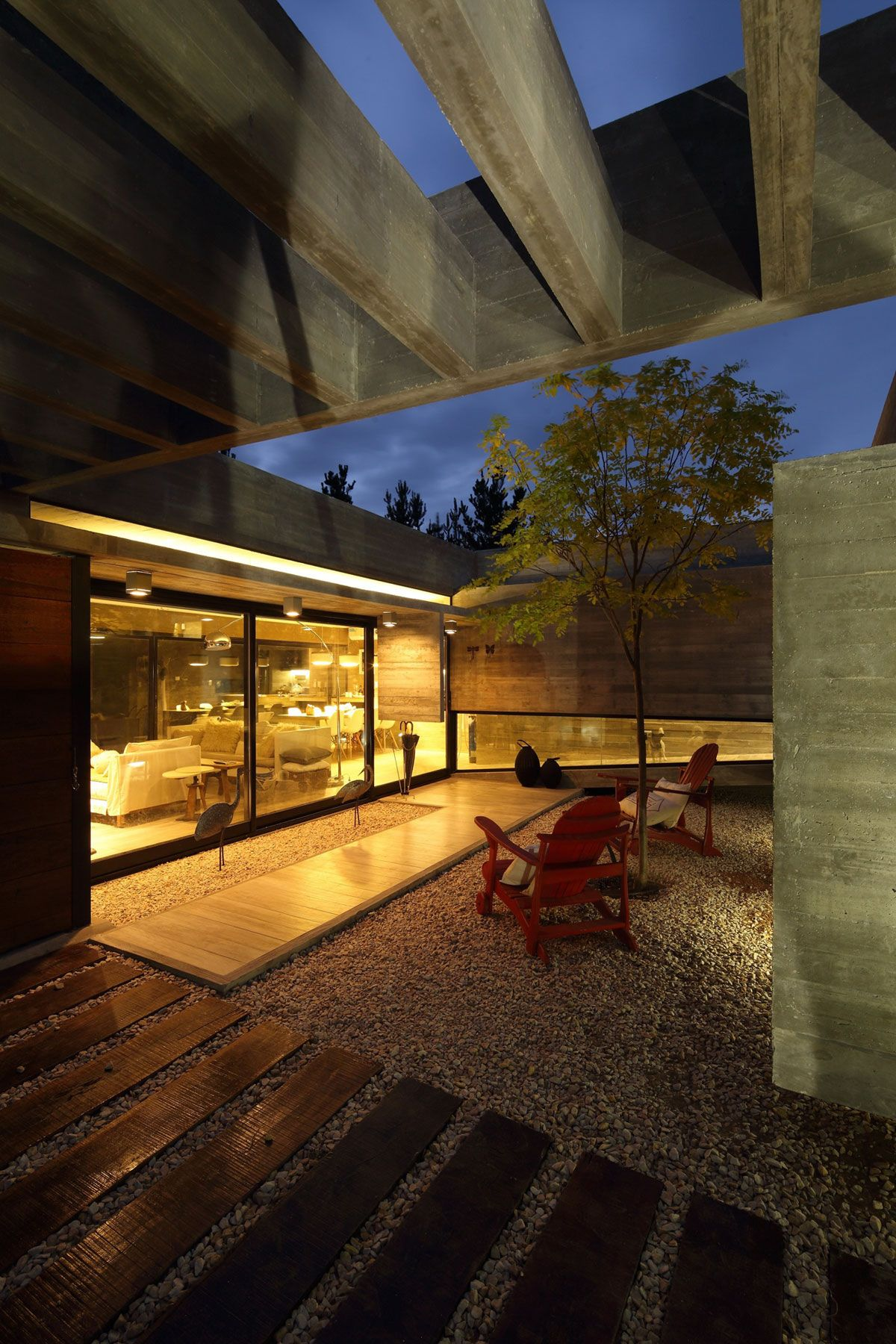 S & S House in Argentina courtyard at sunset