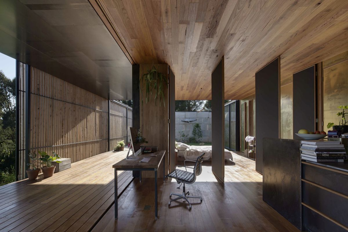 SawMill House bedroom and workspace