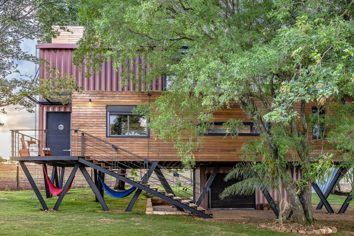 Most of the materials used for building and the house are recycled and include a lot of reclaimed wood
