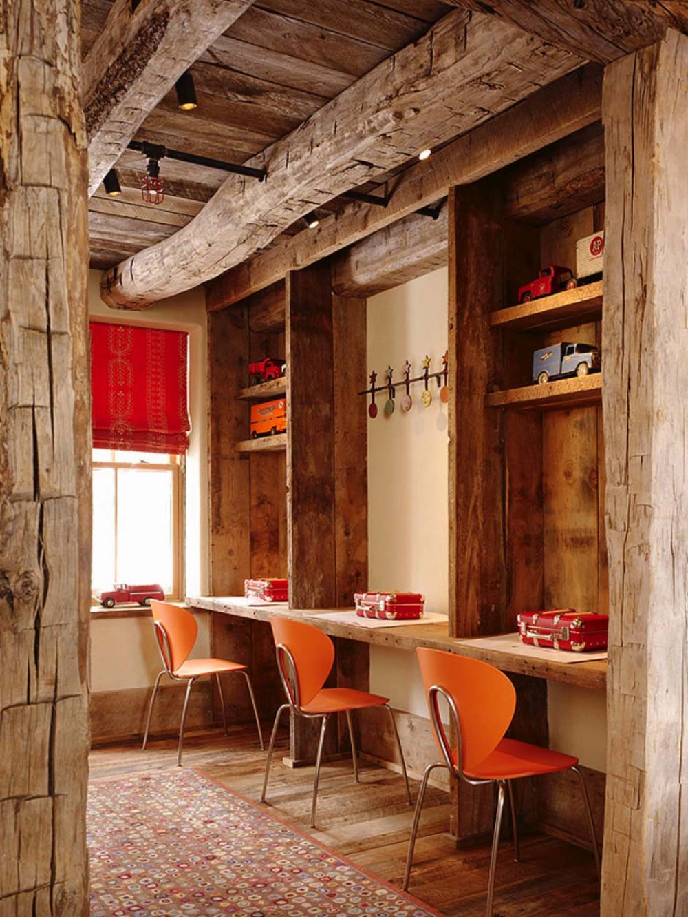Some of the exposed wooden beams are meant to be purely ornamental