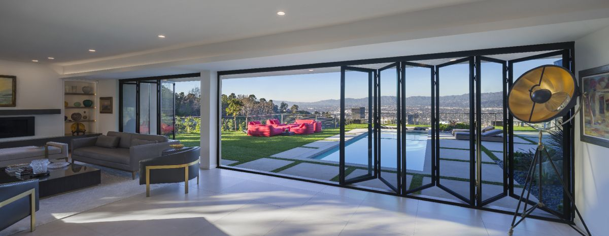 Even when closed, the large glass panels offer a stunning view.
